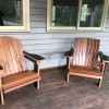 Comfy Chairs perfect for porch or lawn.  Made from weather resistance birch ply with oiled, hardwood slats.